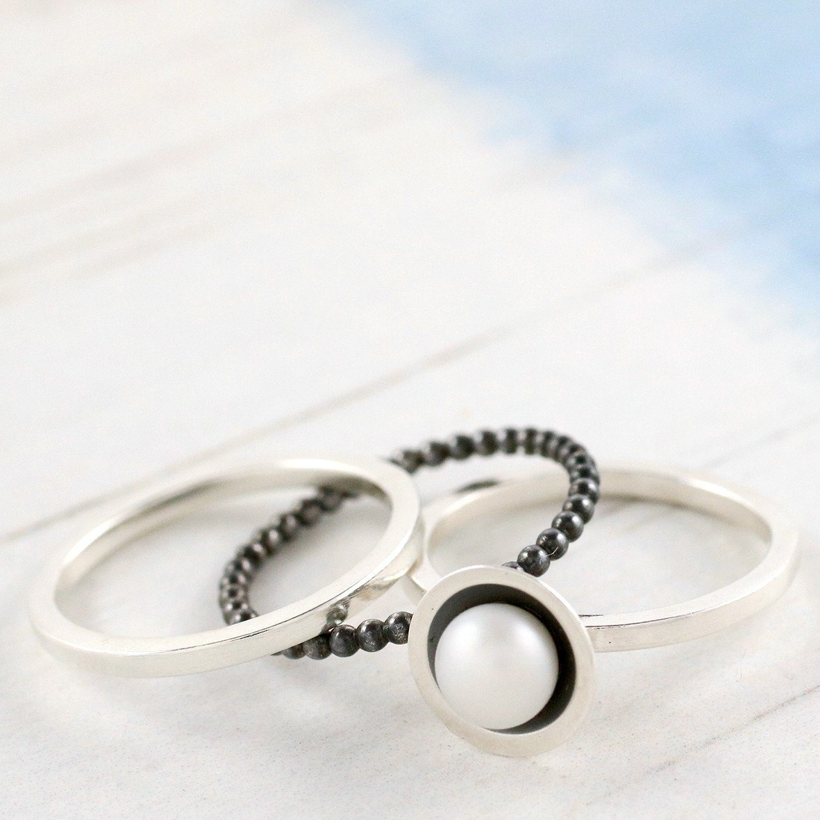 black pearl stacker ring