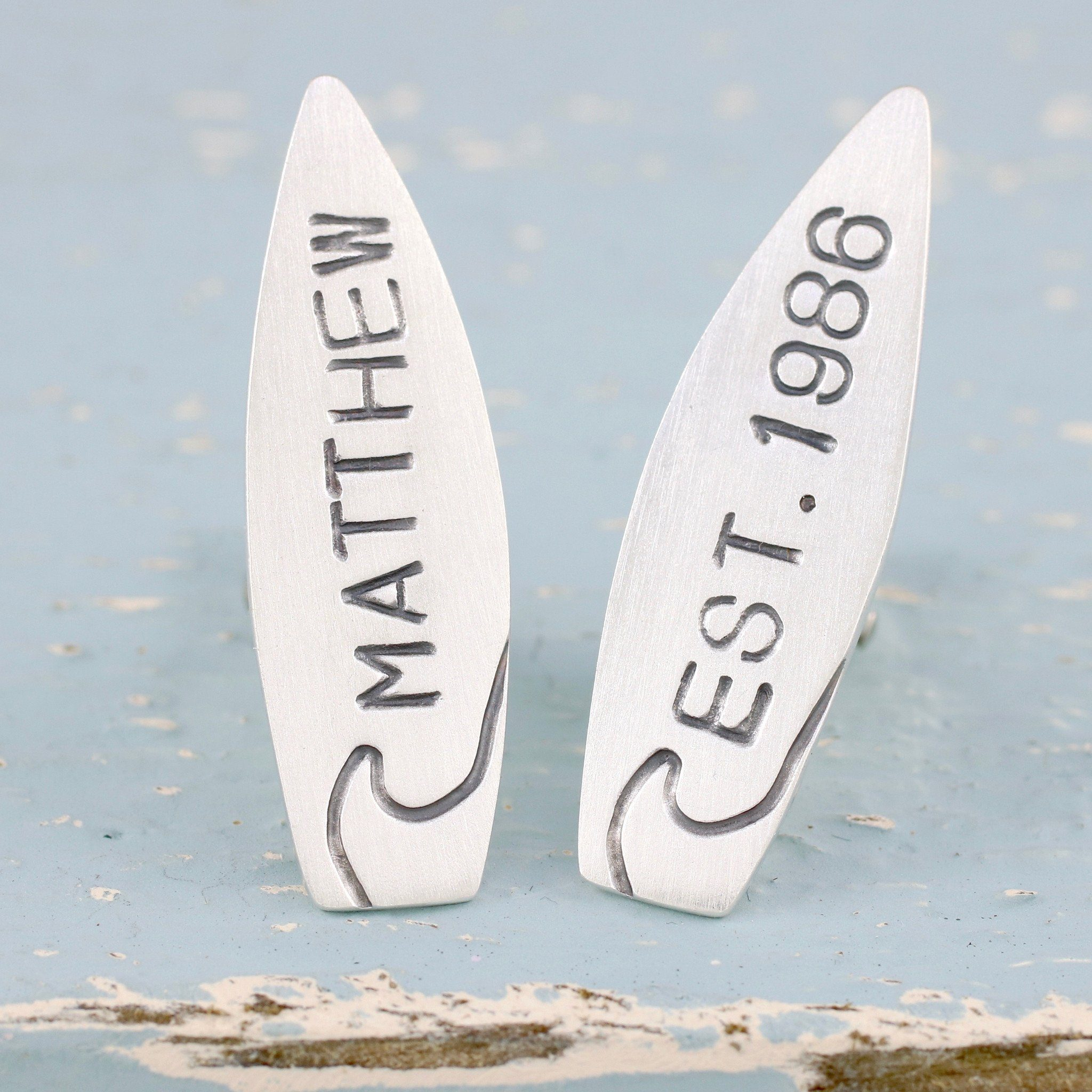 personalised surfing cufflinks