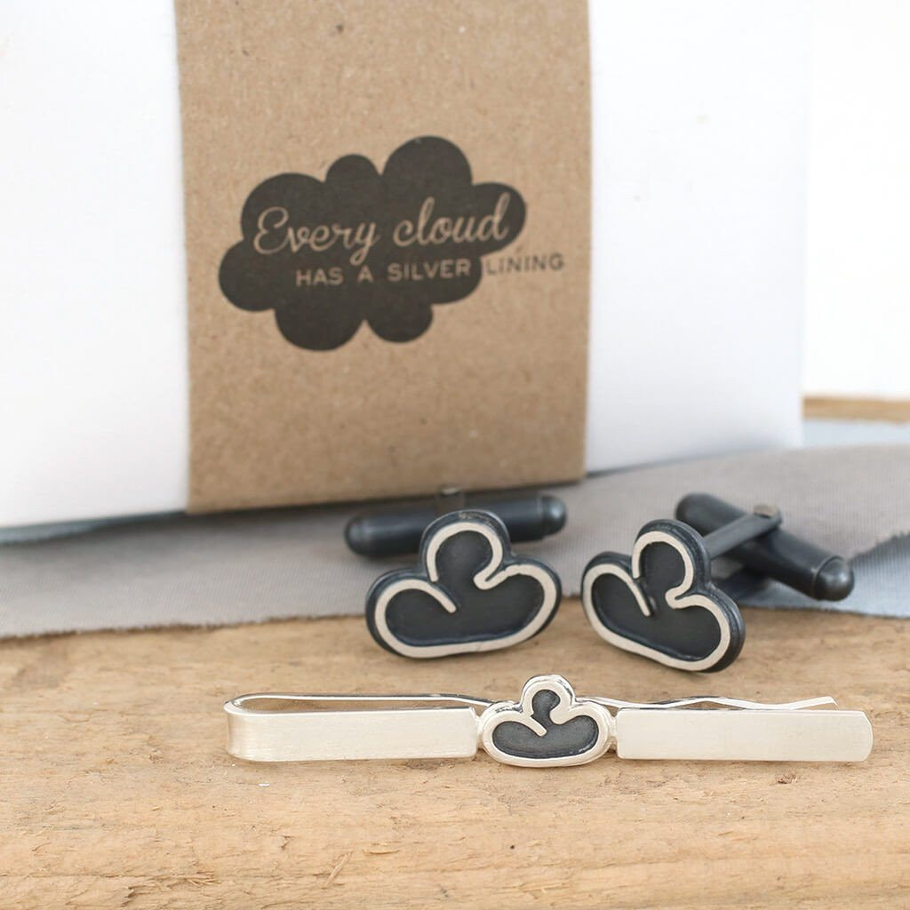 cloud cufflinks and tie clip gift set
