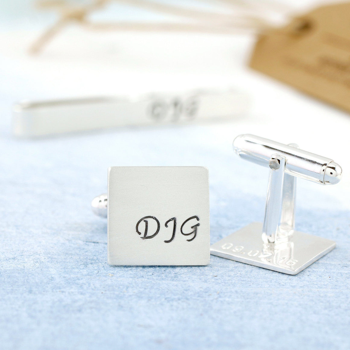 Personalised Monogram Cufflink And Tie Clip Set