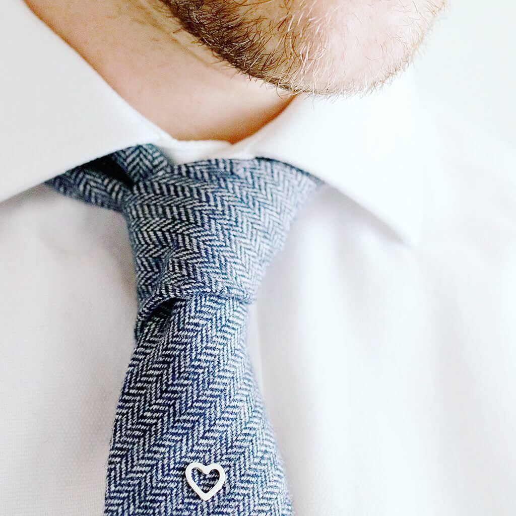 Geometric Heart Tie Pin