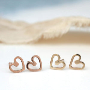9ct Gold Tiny earrings - Heart stud earrings
