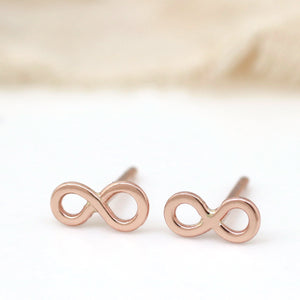 Tiny 9ct Gold Earrings - Infinity Symbol