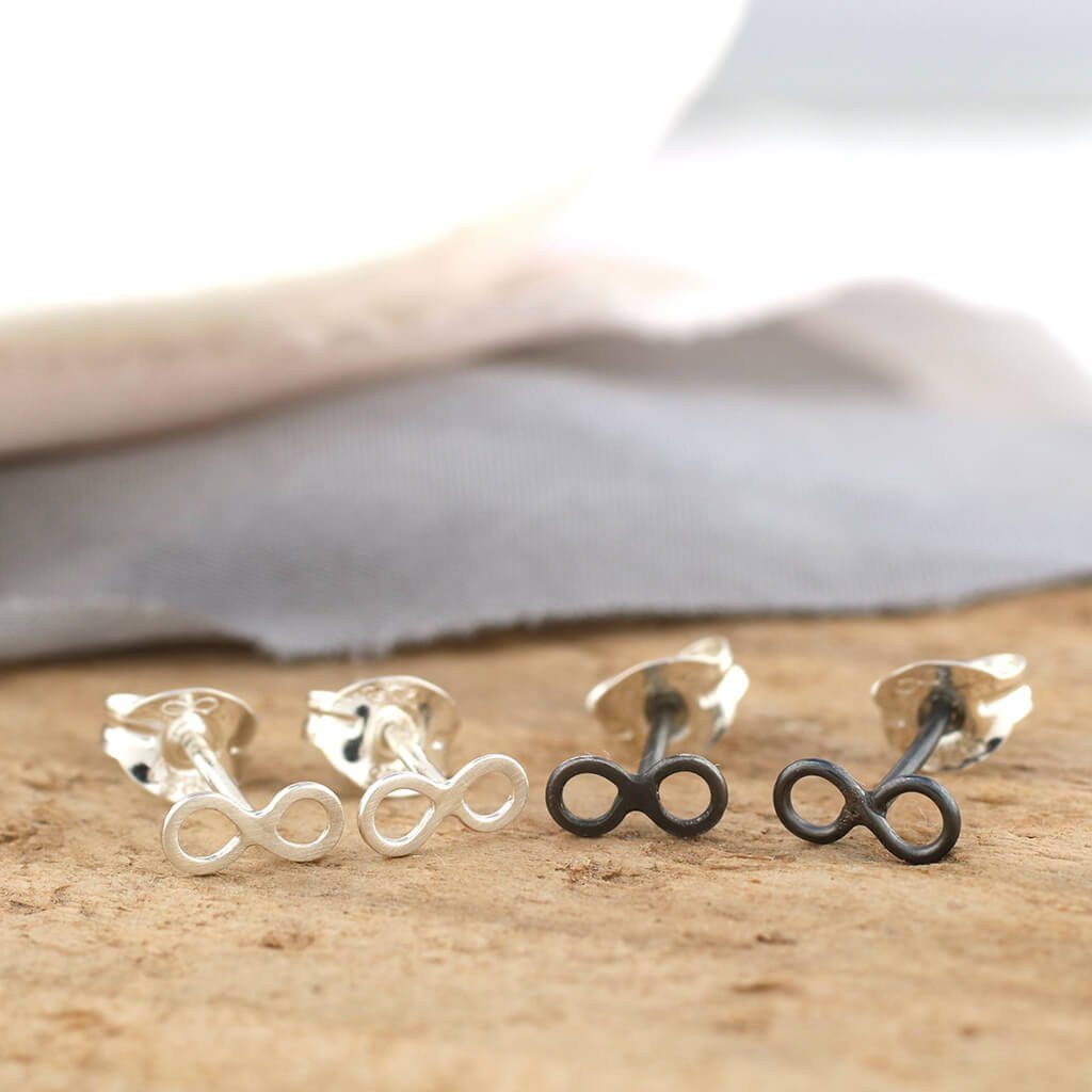 Tiny Infinity Stud Earrings Sterling Silver