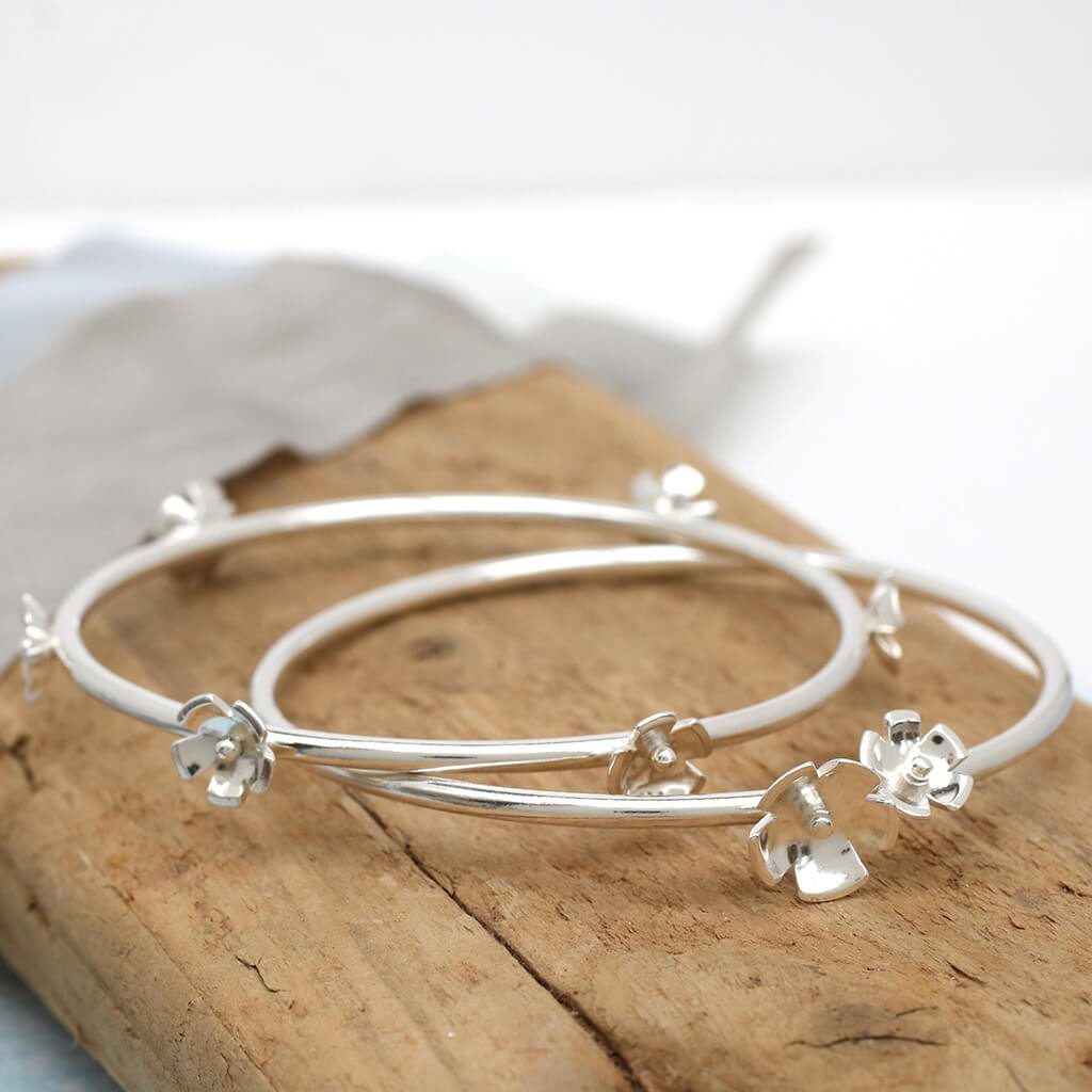 silver stackable bangles