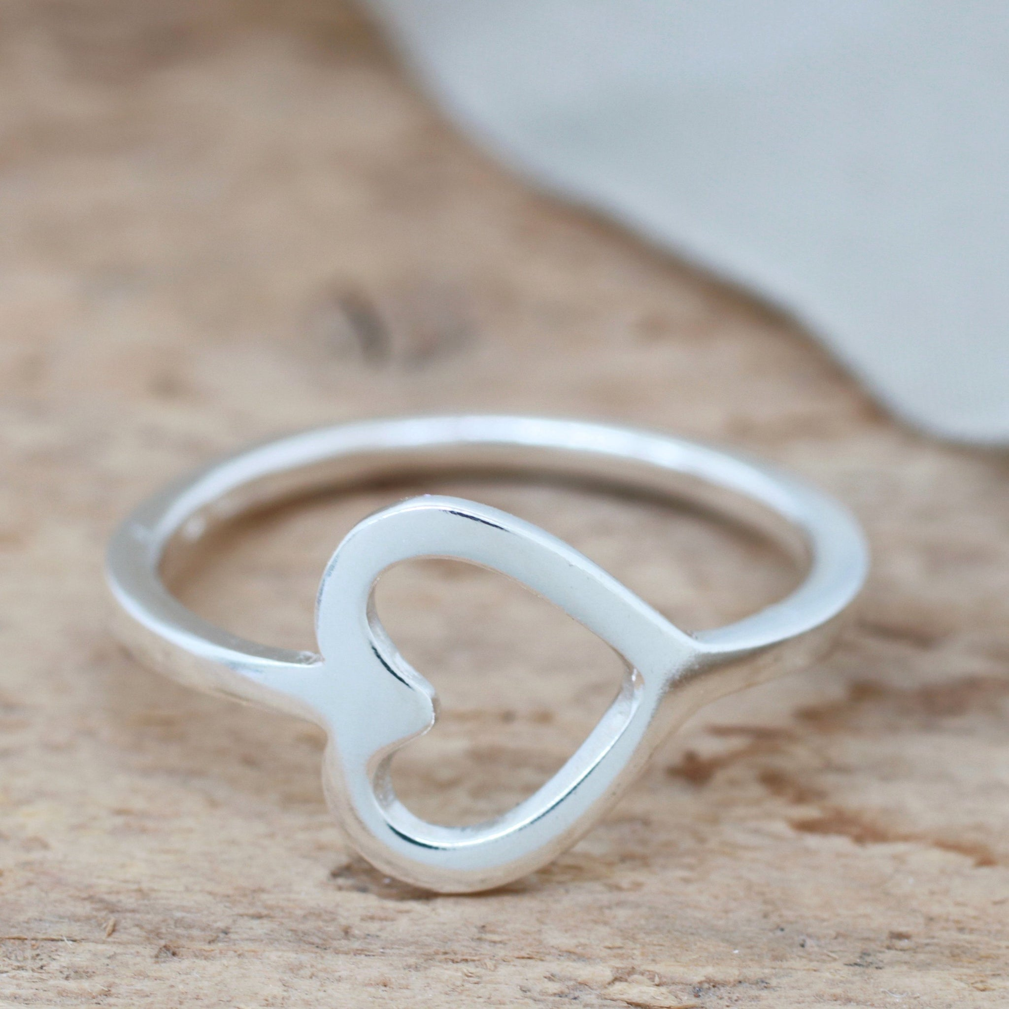 Silver Sideways Heart Ring. Geometric Ring