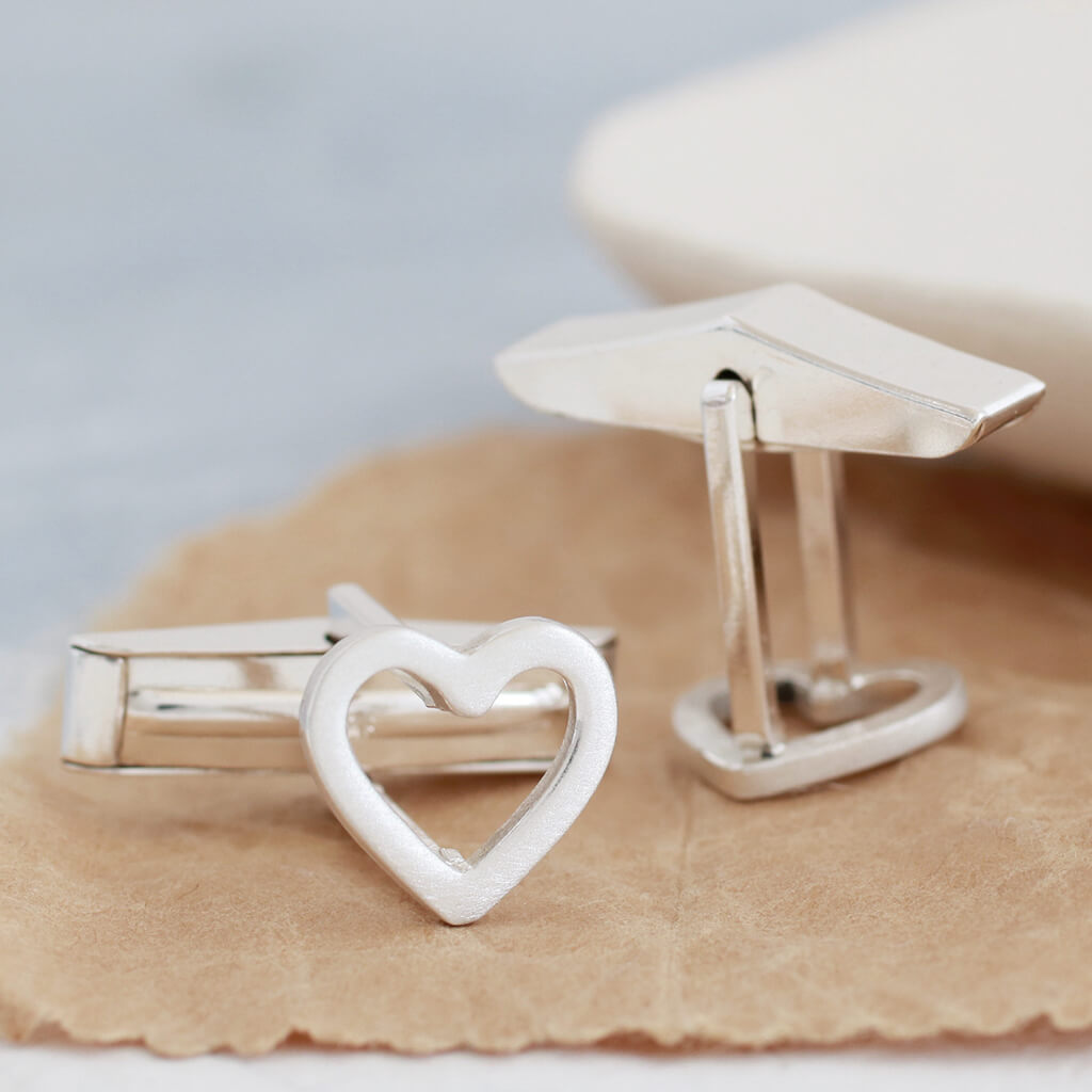 Simple heart cufflinks