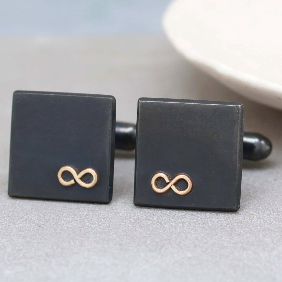 Personalised Wedding Cufflinks. Black Gold Infinity