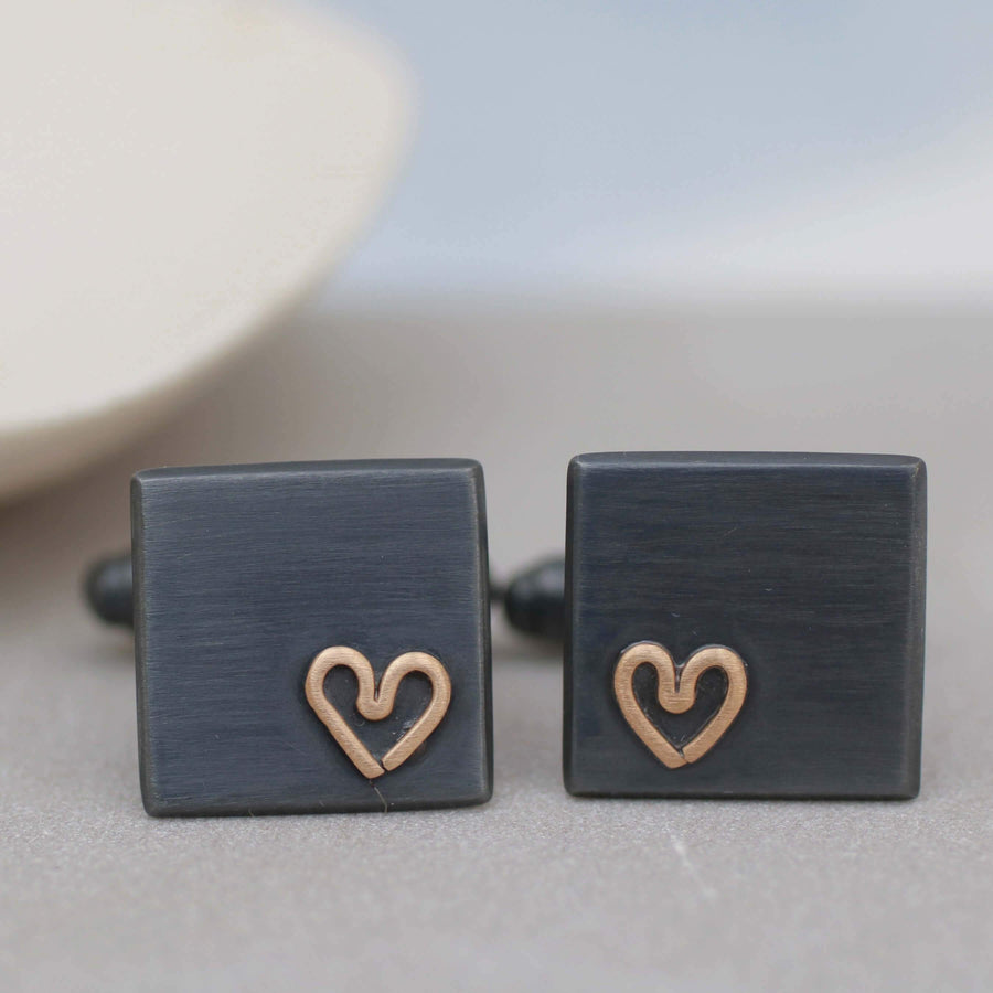 Personalised Wedding Cufflinks. Black Gold Heart