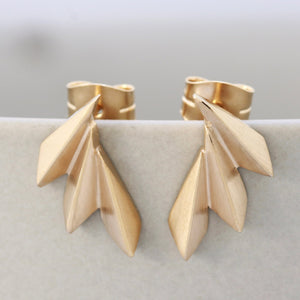 gold climber stud earrings