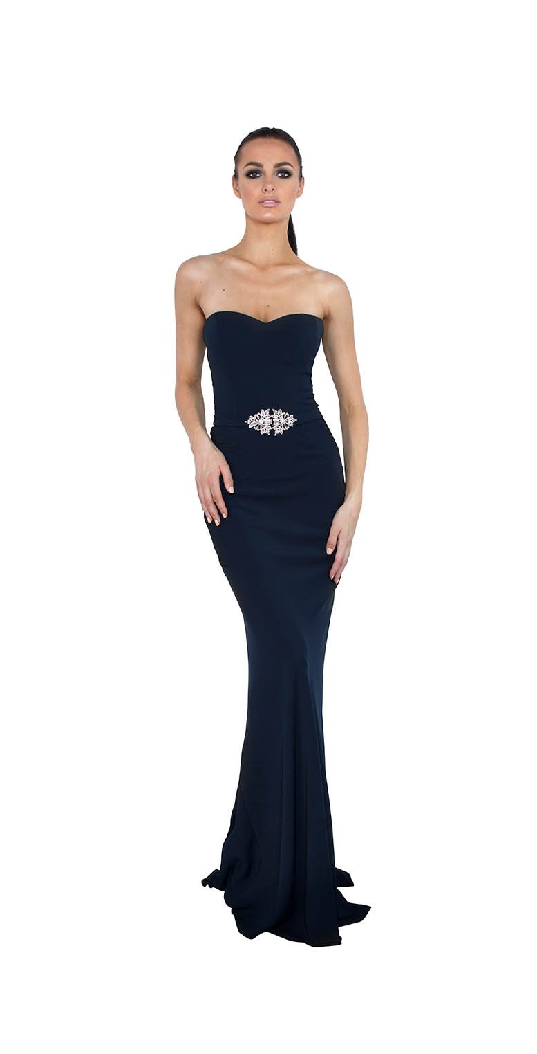 OFF SHOULDER EMBILISHMENT BELT GOWN
