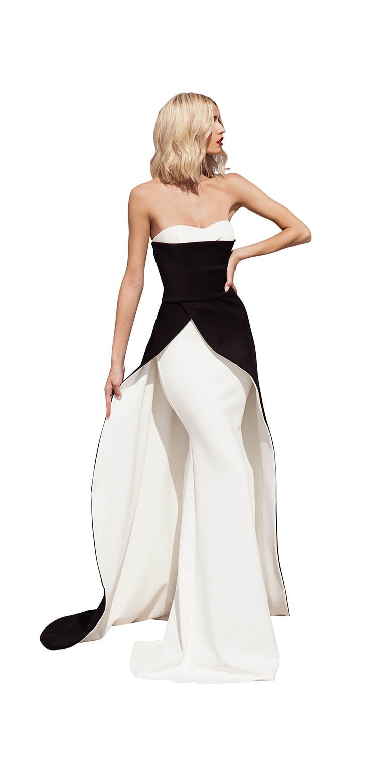 STRAPLESS SWEATHEART CAPE GOWN