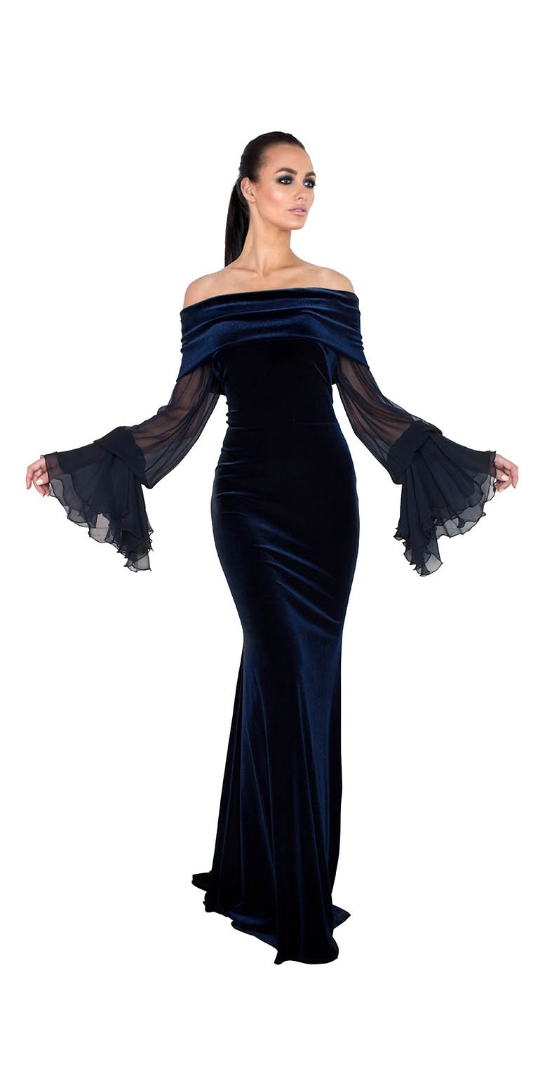 OFF SHOULDER SHEER LONG SLEEVE VELVET GOWN