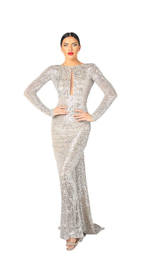 LONG SLEEVE OPEN BACK SEQUINS GOWN