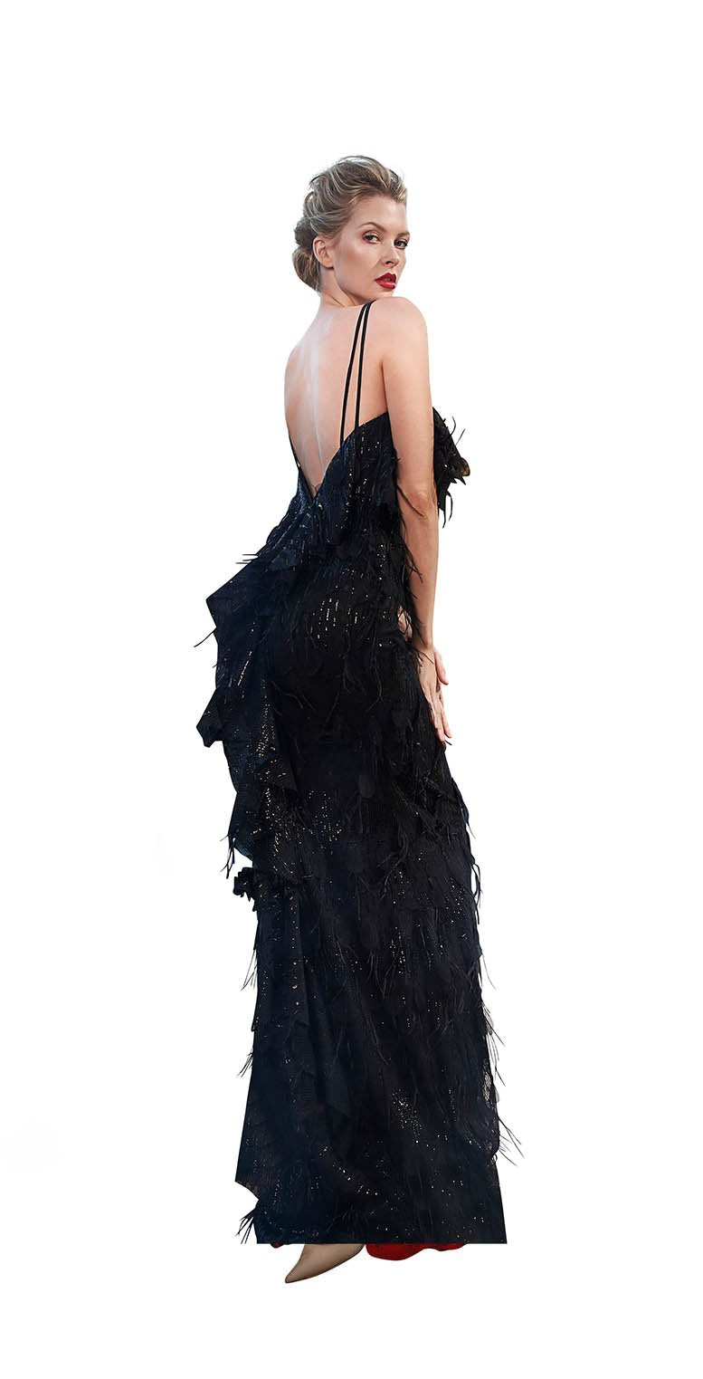 SEQUINS FEATHER RUFFLE BACK GOWN