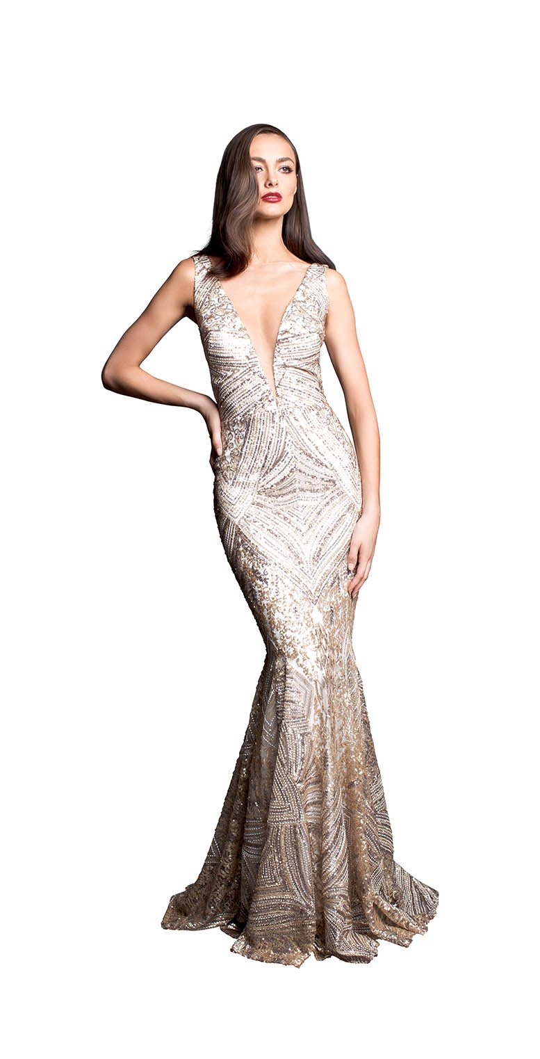 LACE SEQUINS GOWN