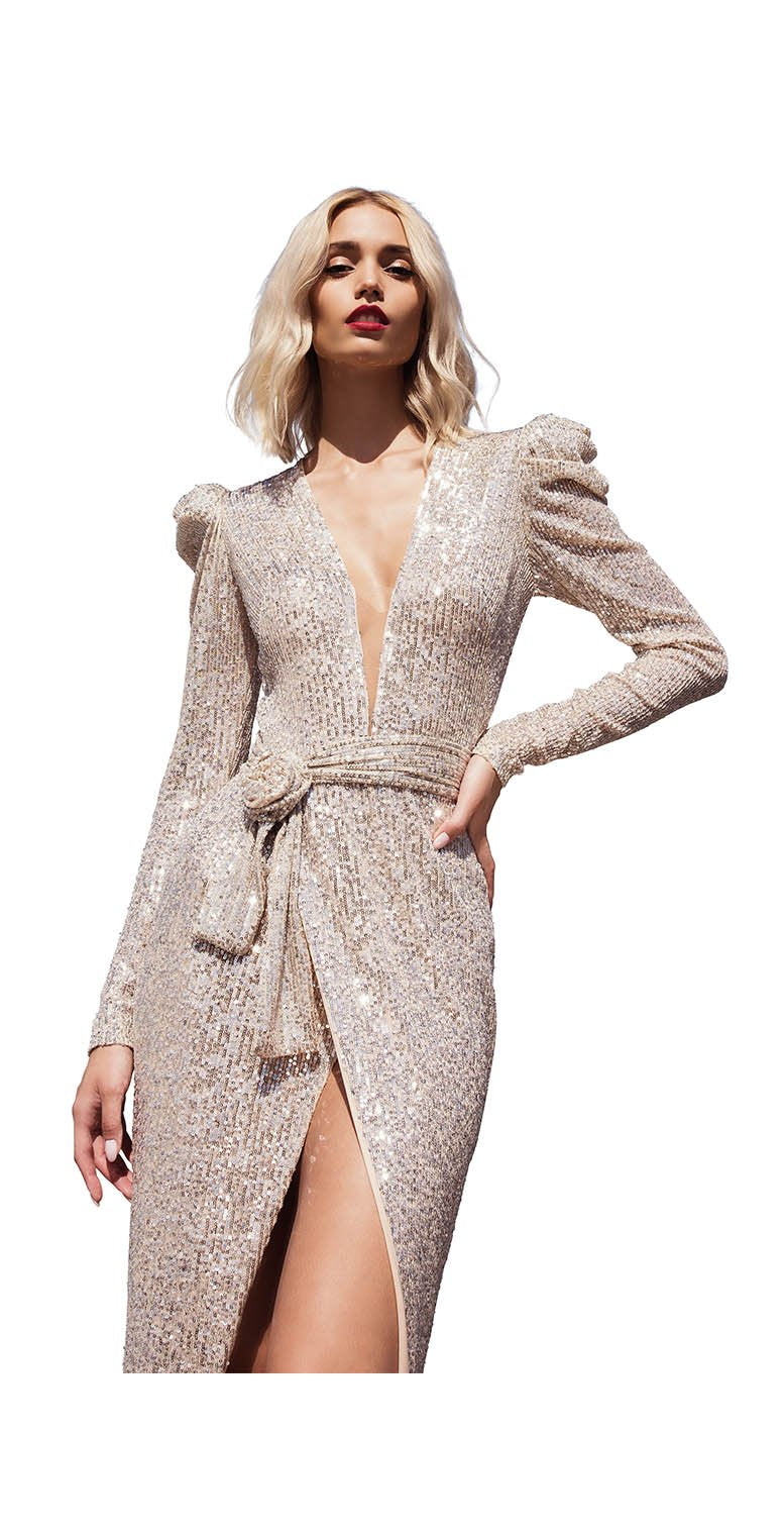 PLEADED SLEEVE SEQUINS GOWN