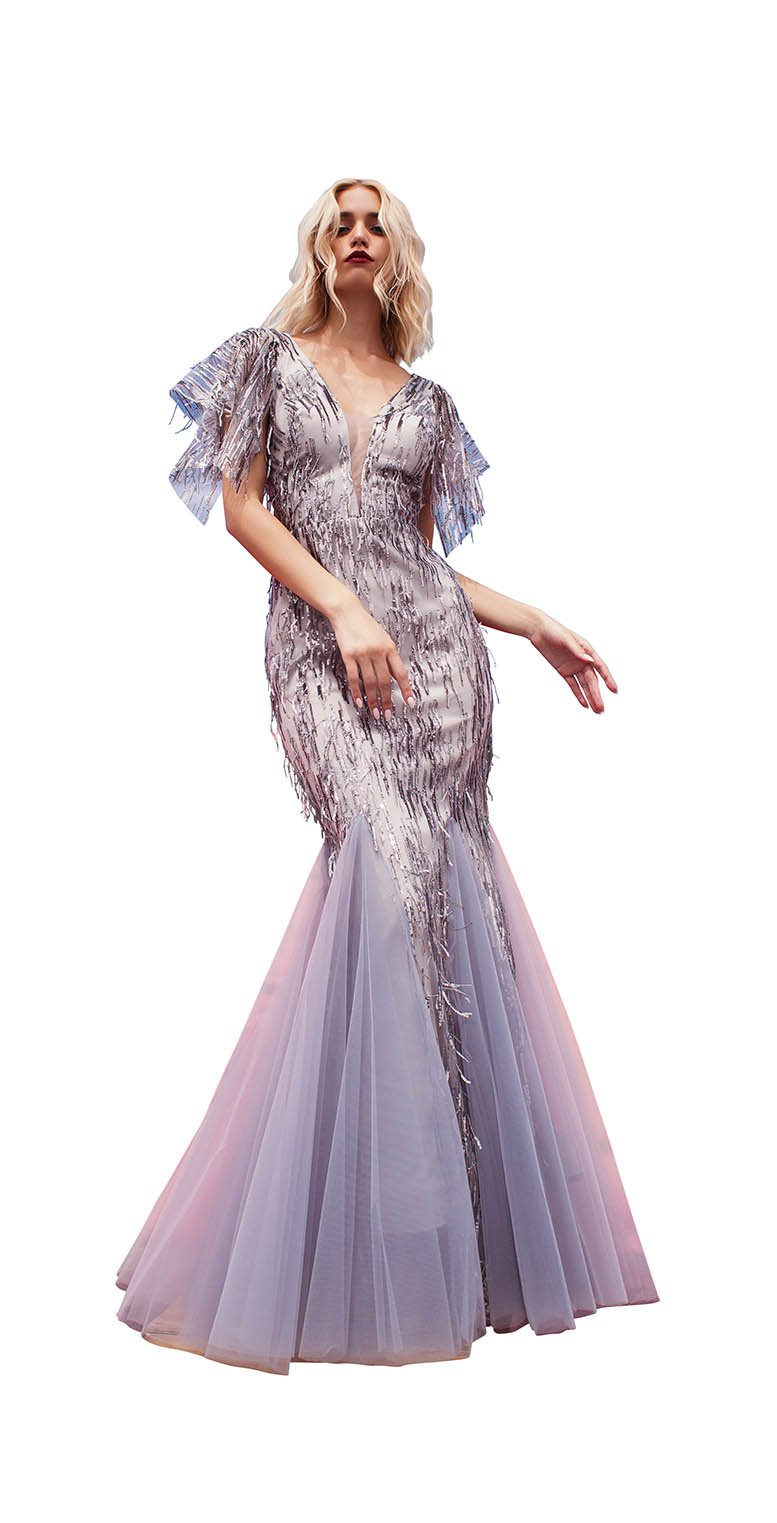 CAT SLEEVE LACE SEQUINS GOWN