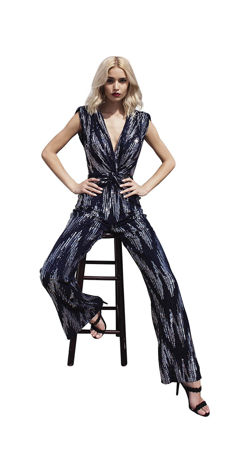 TWO TONE SEQUINS JUMP SUIT