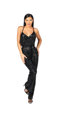 SEQUINS JUMPSUIT WITH DRAPED RACER BACK