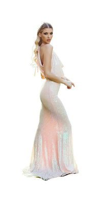 HALTER SEQUINS GOWN WITH DRAPED BACK DETAIL