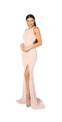 HIGH NECK SEQUINS GOWN WITH OPEN BACK
