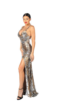 OPEN BACK MULTI COLOR SEQUINS GOWN