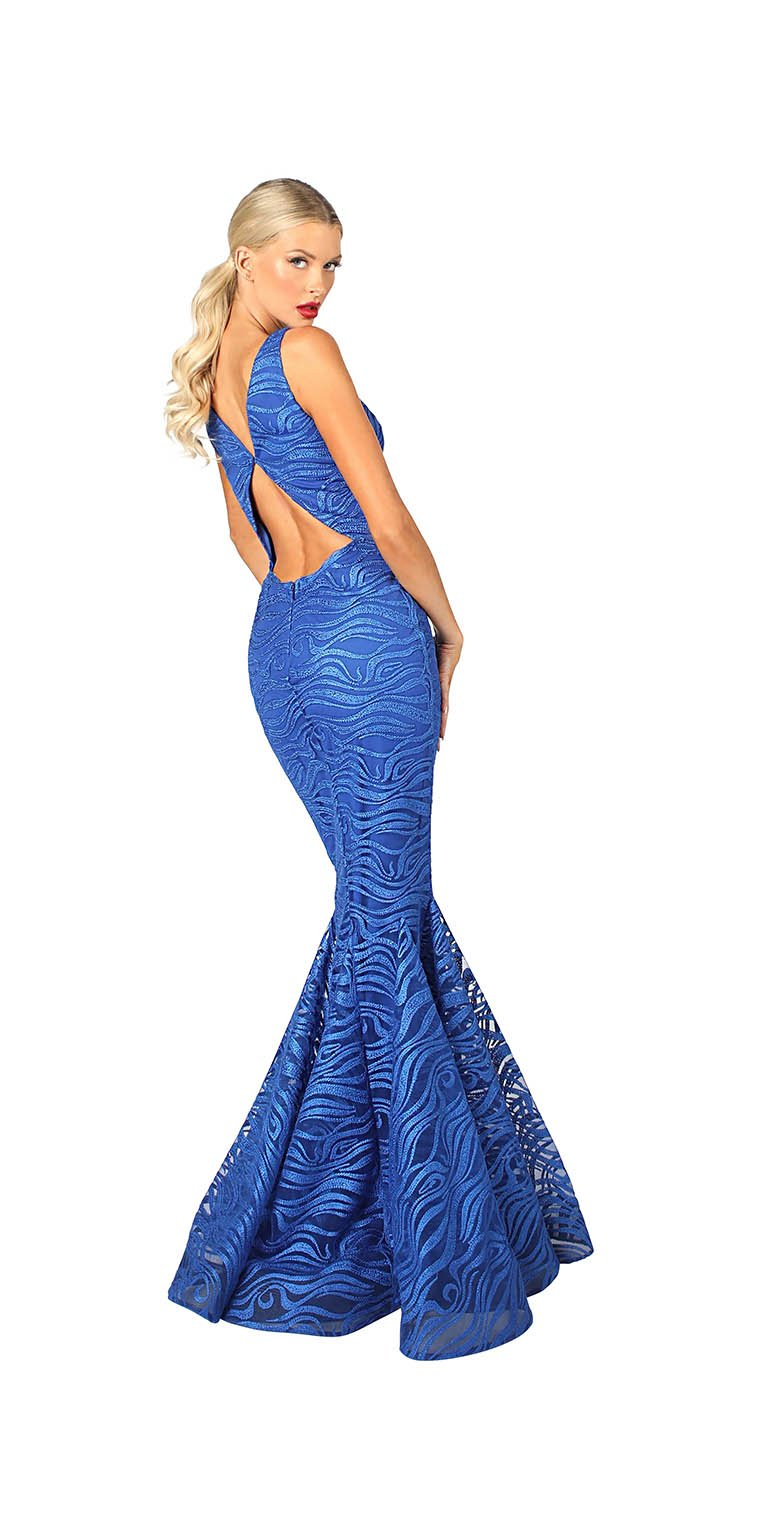LONG V NECK CUT OUT GOWN