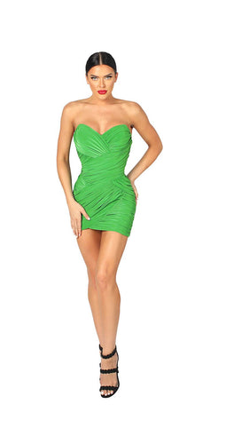 STRAPLESS RUCHED MINI DRESS