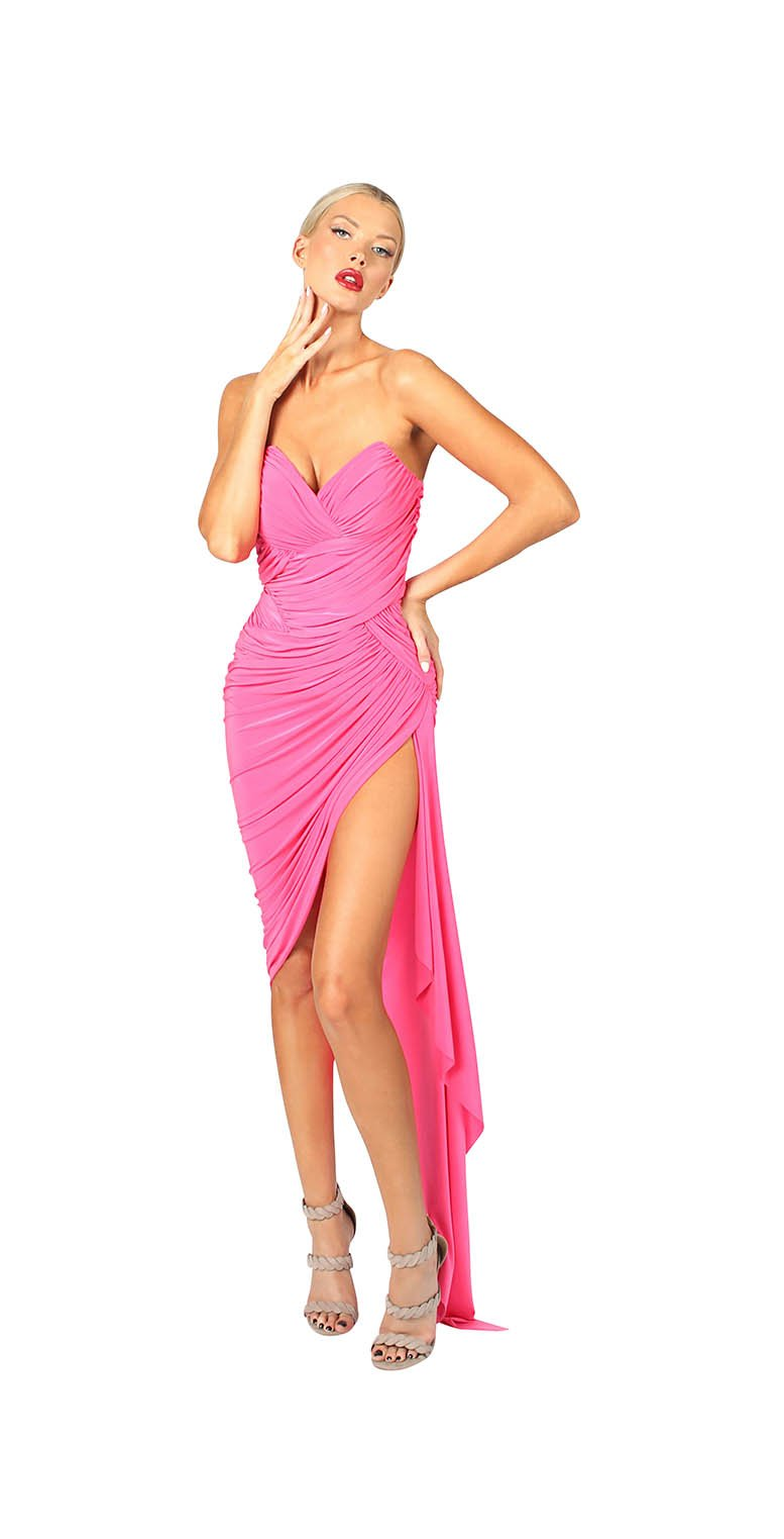 STRAPLESS ASYMMETRICAL RUCHED DRESS