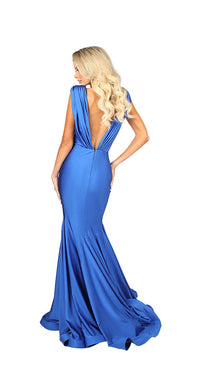 LONG V NECK GOWN WITH RUCHING DETAILS