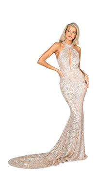 LONG SEQUINS HIGH NECK BACKLESS GOWN