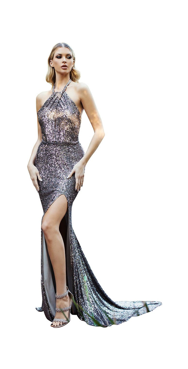 LONG SEQUINS HALTER BACKLESS GOWN