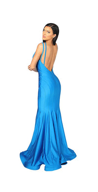 LONG BACKLESS CUTOUT GOWN