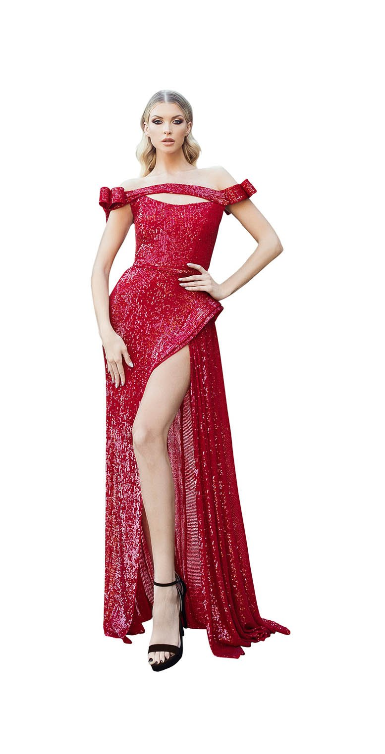 STRAPLESS LAYERED KIRIGAMI GOWN