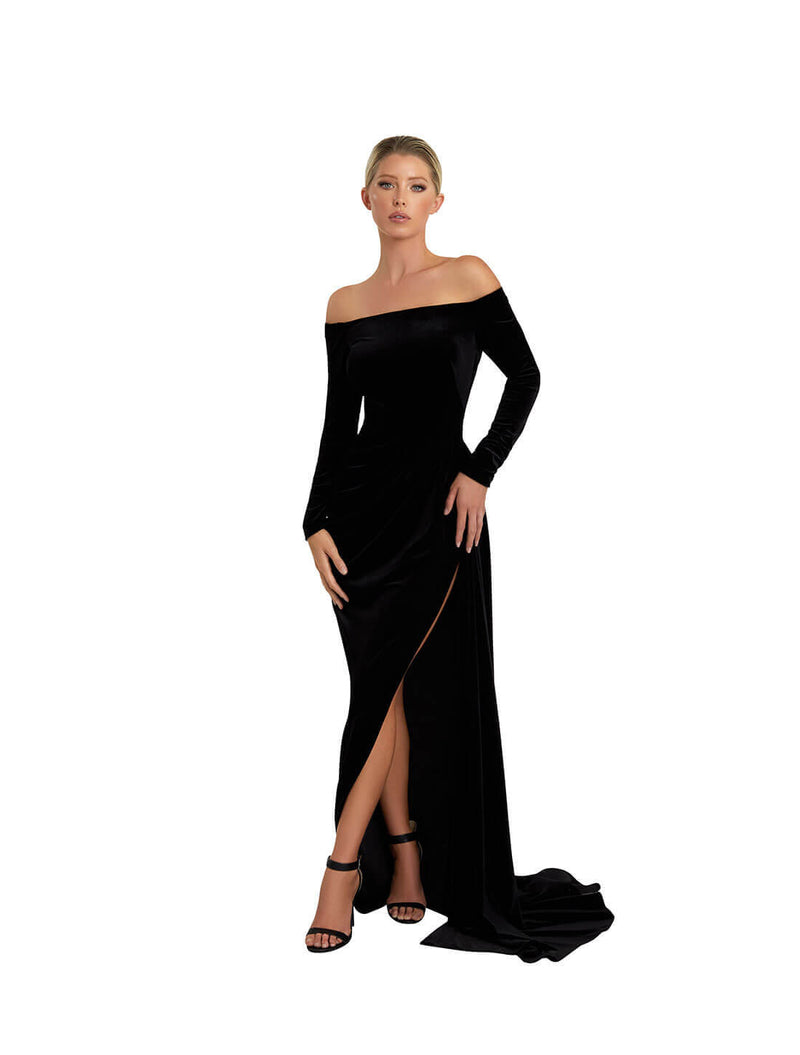 OFF SHOULDER SLIT GOWN