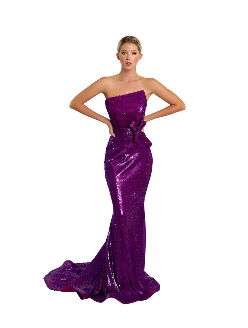 ASSYEMTRICAL SEQUINS GOWN