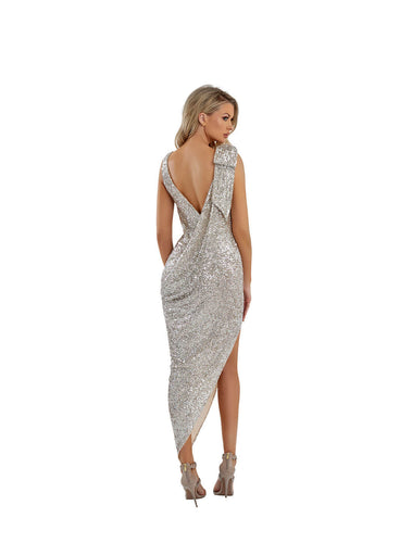 SIDE SLIT SEQUINCE DRESS