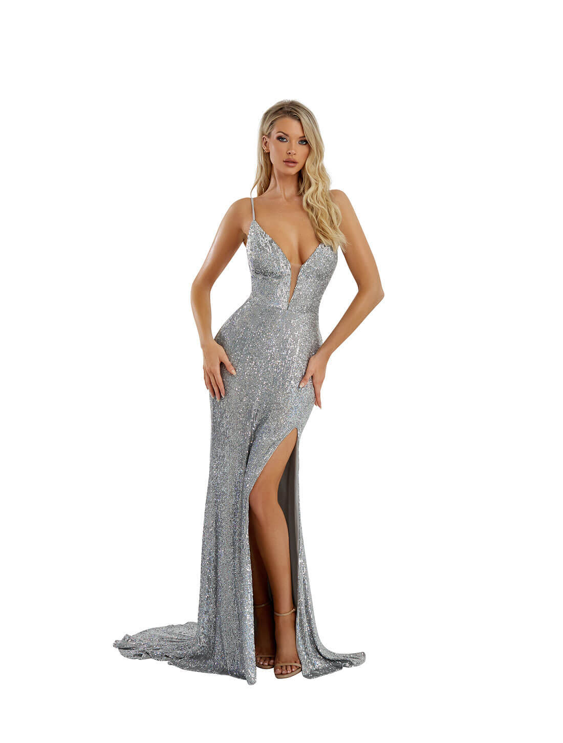 BANDAGE SEQUINS SLIT GOWN