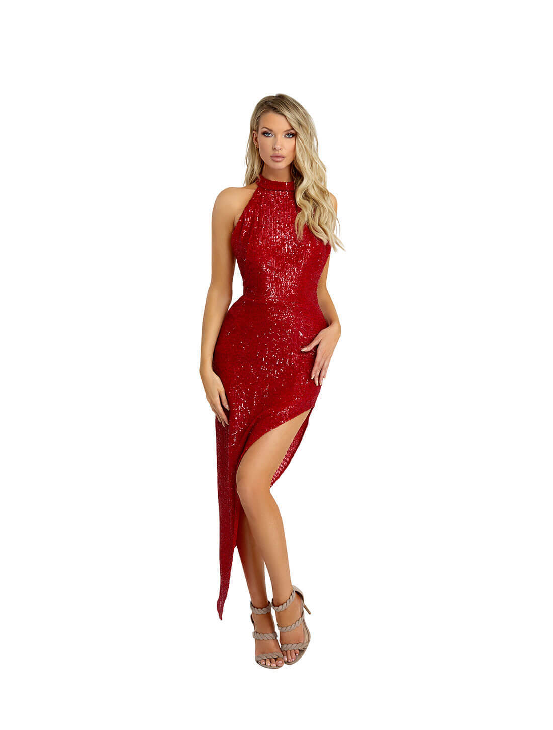 HALTER OPEN BACK SEQUINS DRESS