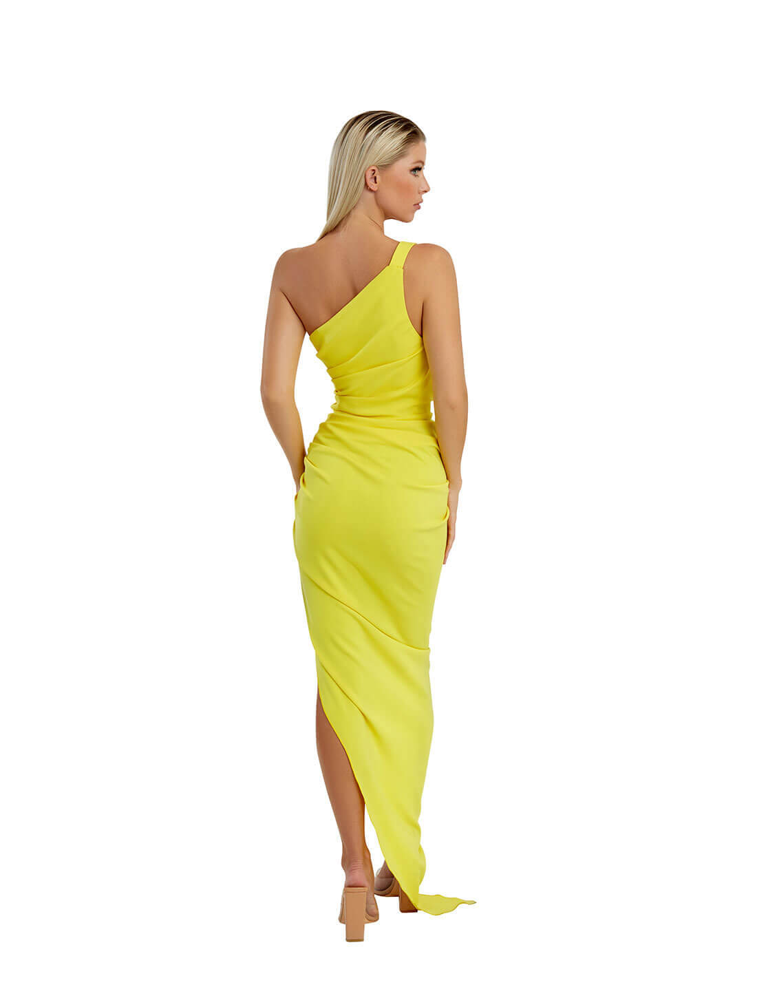 ONE SHOULDER GATHERED DRESS