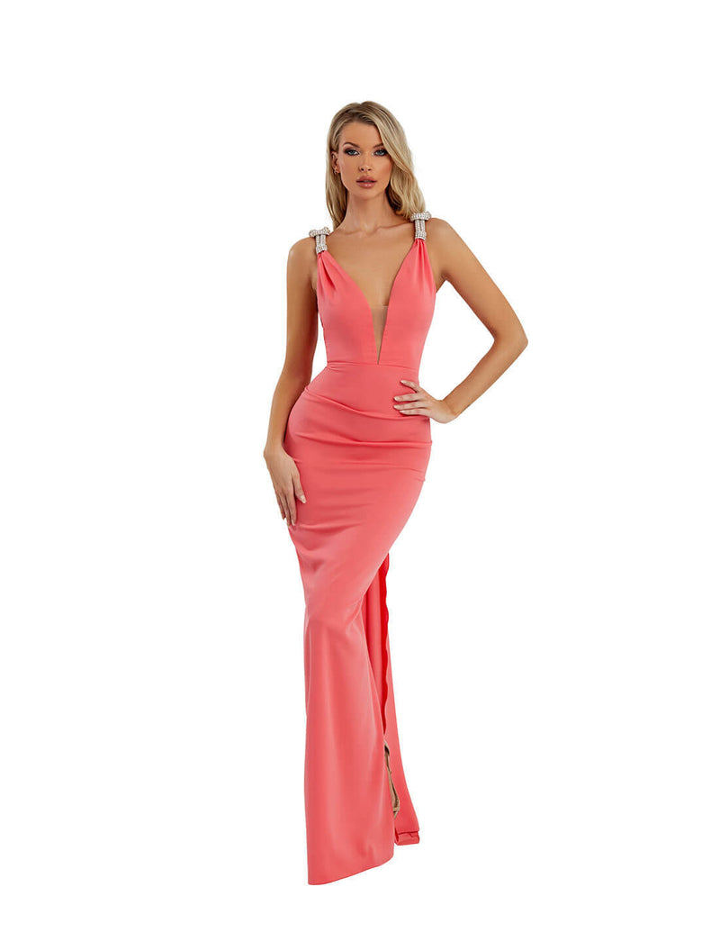 OPEN BACK EMBILISHMENT GOWN