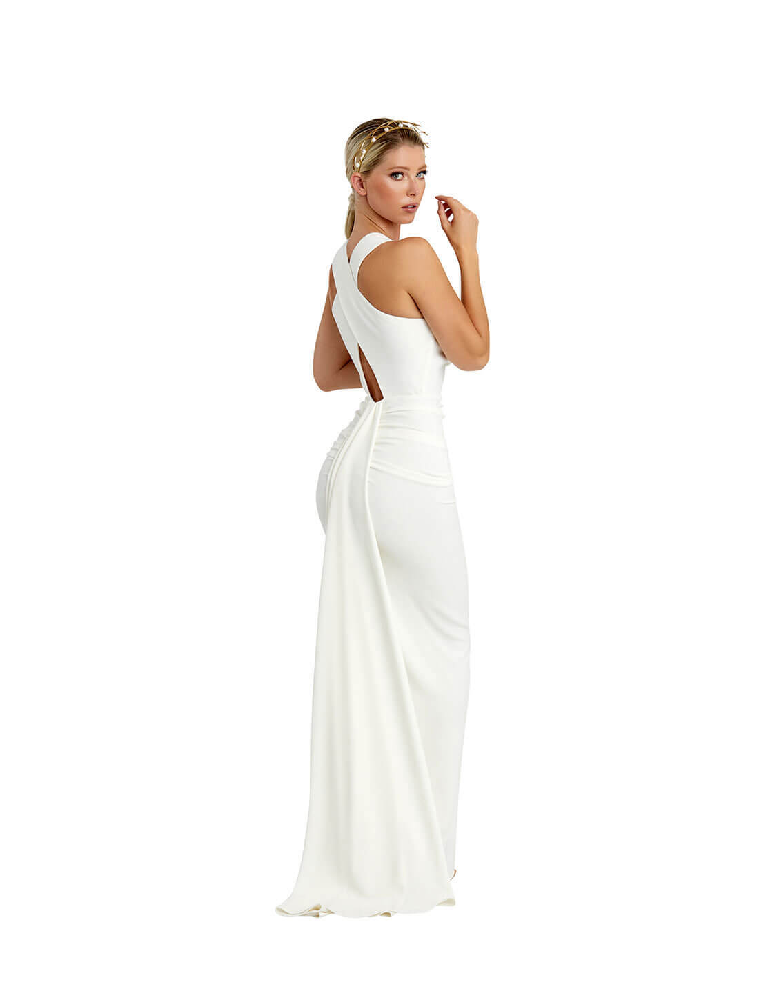 CROSS BACK TAIL GOWN