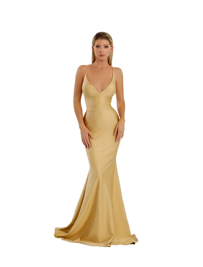 OPEN BACK BANDAGE STRAP GOWN