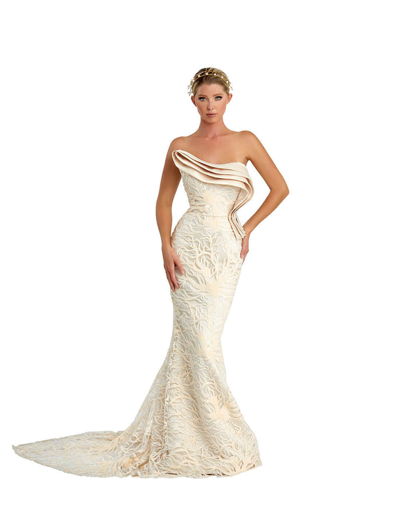 STRAPLESS LAYERED SEQUINCE GOWN