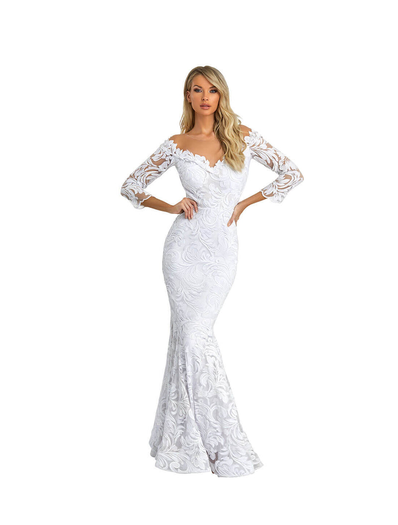 OFF SHOULDER LACE APPLIQUE GOWN