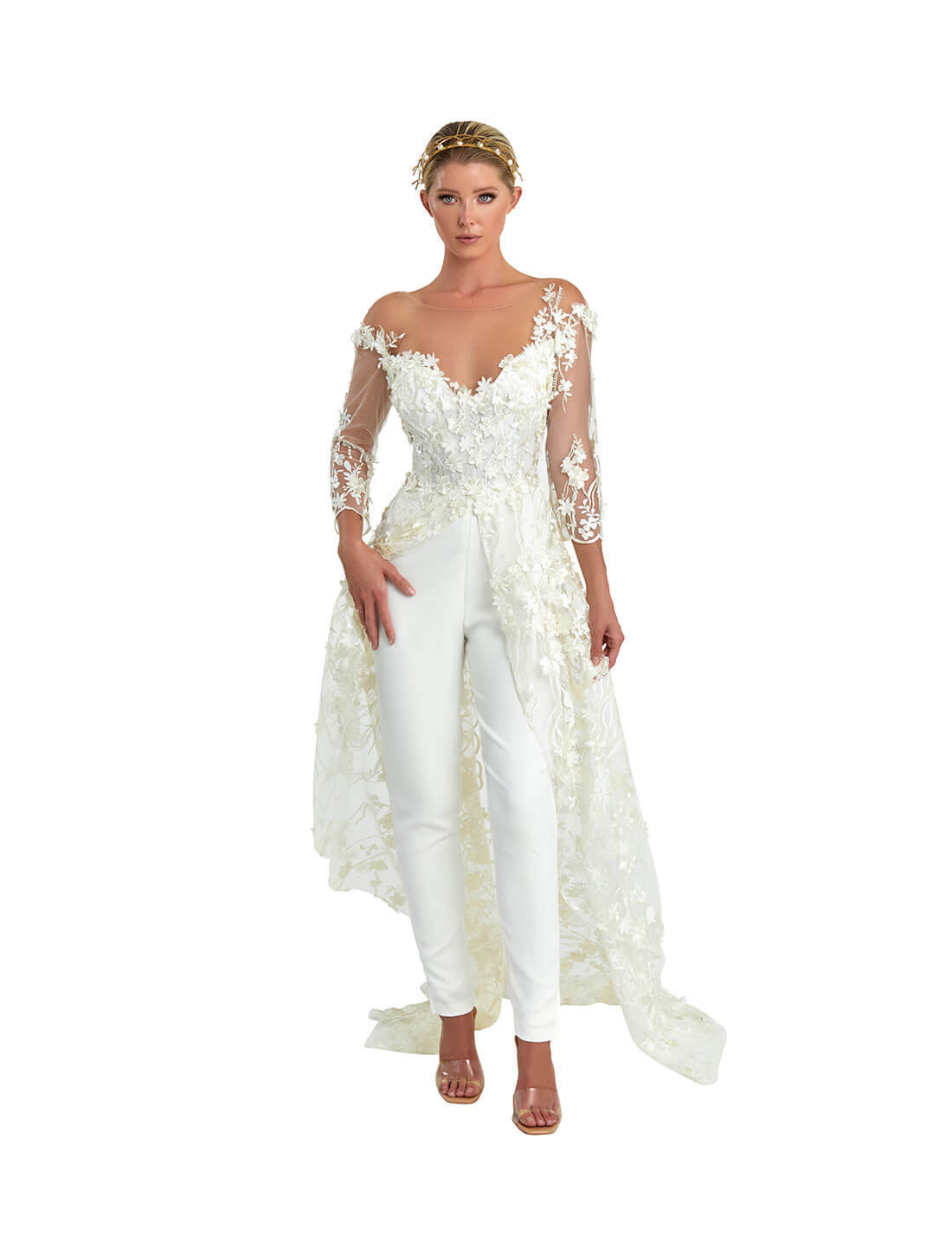 LACE APPLIQUE CAPE JUMP SUIT