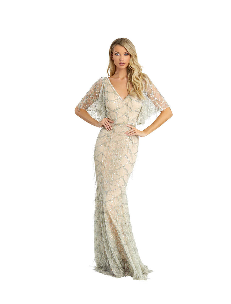 CAT SLEEVE LACE GOWN