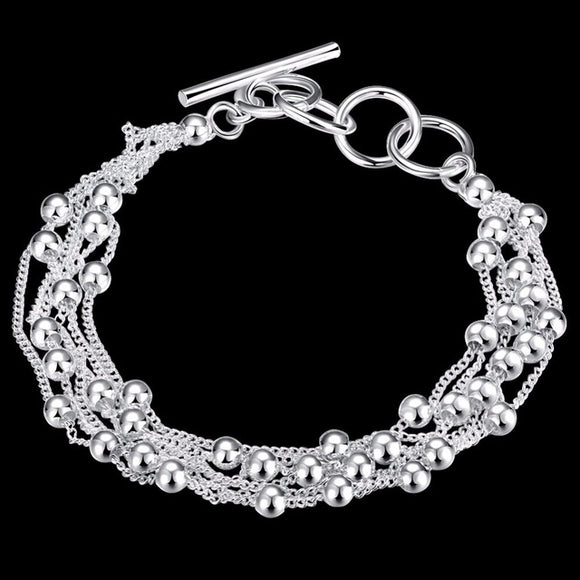 Tassel Ball and Chain Link Bracelet - 925 Sterling Silver - Brensales