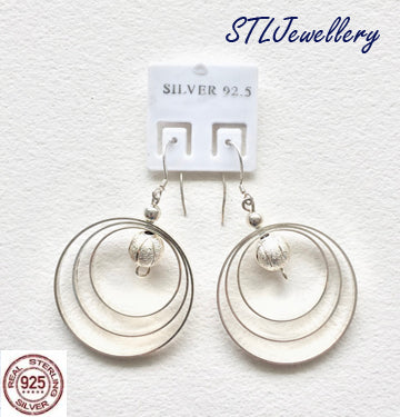 Ball and 3 Hoop Earrings -  925 Sterling Silver - Brensales